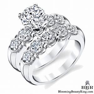 tiffany style 9 large stone diamond engagement ring set With large wedding ring sets