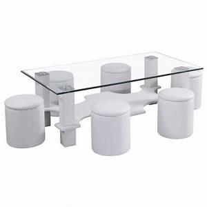 Table Basse Avec Pouf Pas Cher : table basse avec 6 poufs blanc le bois chez vous ~ Teatrodelosmanantiales.com Idées de Décoration