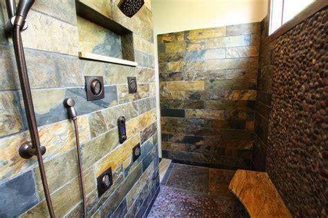 Modern Rustic Bathroom Tile by Slate Tiled Shower Rustic Bathroom Cleveland By
