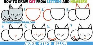 How to Draw a Cute Cartoon Cat Completely from Letters ...