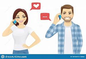 Friends talking on phone stock vector. Illustration of ...