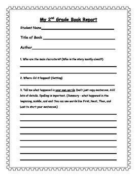 2nd Grade Book Report Forms by 2nd Grade Book Report Form By Primarytomiddle Teachers