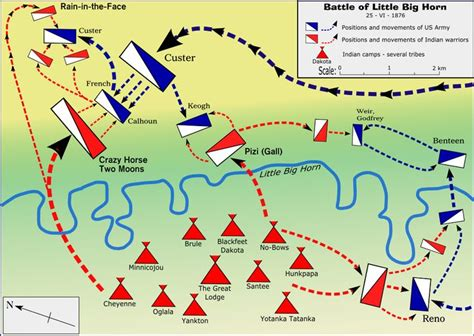 map of the little big horn battlefield where the 7th