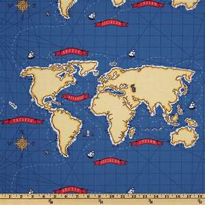 Michael Miller Out To Sea Nautical Map Boy Blue - Discount ...