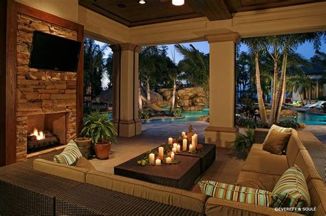 Backyard Living Room Ideas by Florida Room Designs Pool Tropical With Outdoor Fireplace