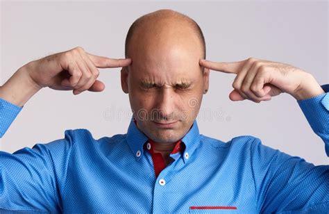 Bald Man Thinking Too Hard Stock Image. Image Of Portrait