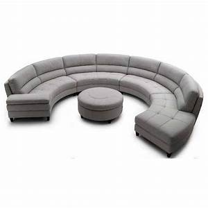Round sofa set 4pc modern top grain leather round for Round sectional sofa set manufacturers