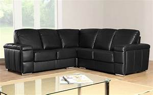 plaza black leather corner sofa group settees ebay With black sectional sofa ebay