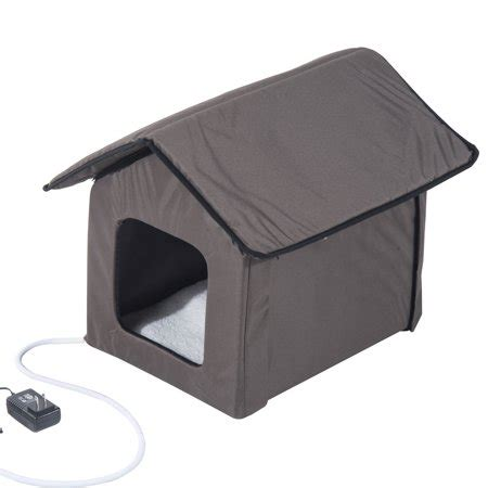 Pawhut Outdoor Heated Cat House  Brown Walmartcom