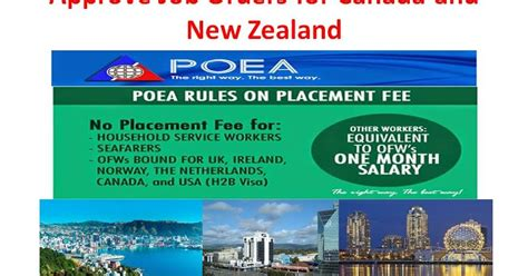 poea approved jobs for canada and new zealand