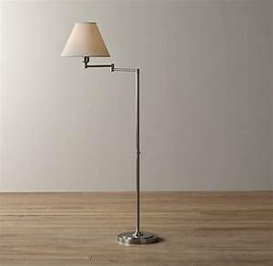 ellis swing arm floor lamp with shade antique pewter With antique pewter floor lamp