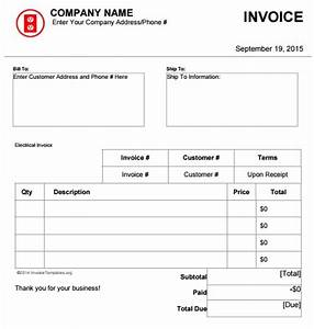 download electrical invoice template free rabitahnet With electrical invoice template excel