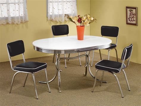 coaster pc oval retro dining set  black chairs