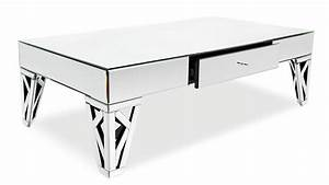 Azure mirrored glass coffee table zuri furniture for Mirrored coffee table and end tables