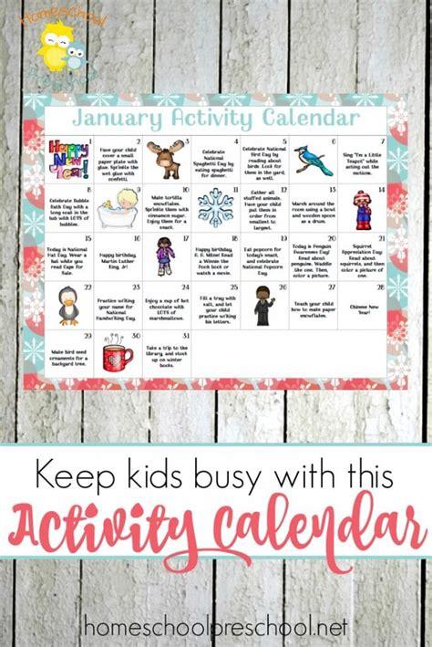 january preschool activity calendar  homeschool