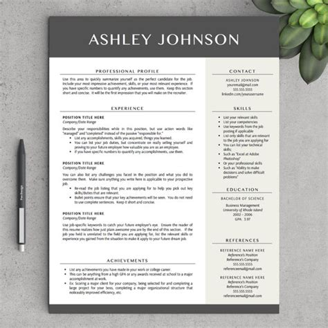 modern resume template for word 1 and 2 page resumes