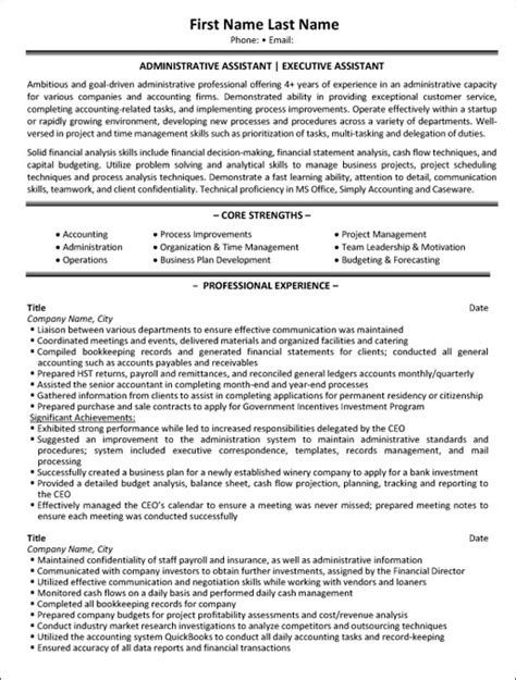 administrative assistant resume sample template