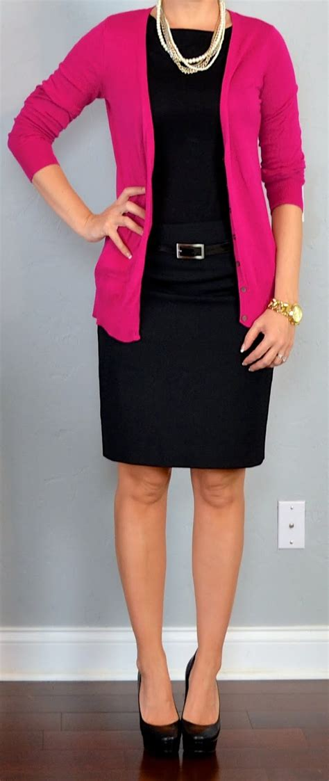 Outfit posts pink cardigan black blouse black pencil skirt | Outfit Posts