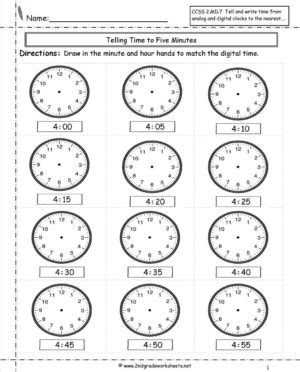 clock worksheets  minute math practice telling time