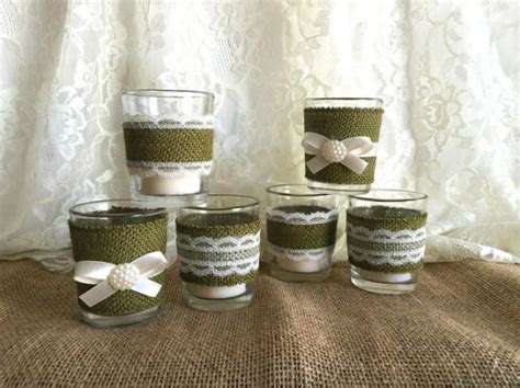 moss green burlap  lace covered votive tea candles