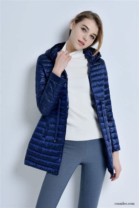 blaue steppjacke damen herbst winter schlank neu licht mit