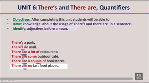 Grammar B1  U6  There's & There Are, Quantifiers Youtube