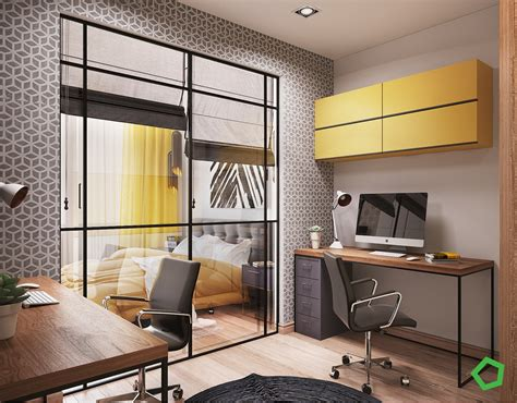 open layout interiors  yellow   highlight color