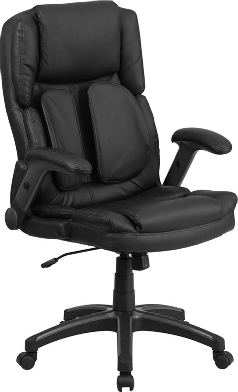 Office Chairs With Flip Up Arms by High Back Black Leather Executive Swivel Office Chair W
