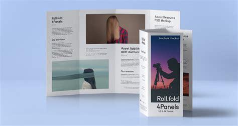 roll fold psd brochure mockup   psd mock