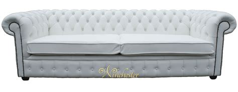 chesterfield  seater settee white leather sofa offer