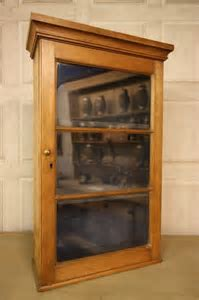 Georgian Antique Pine Wine Glass Wall Cabinet.   Antiques