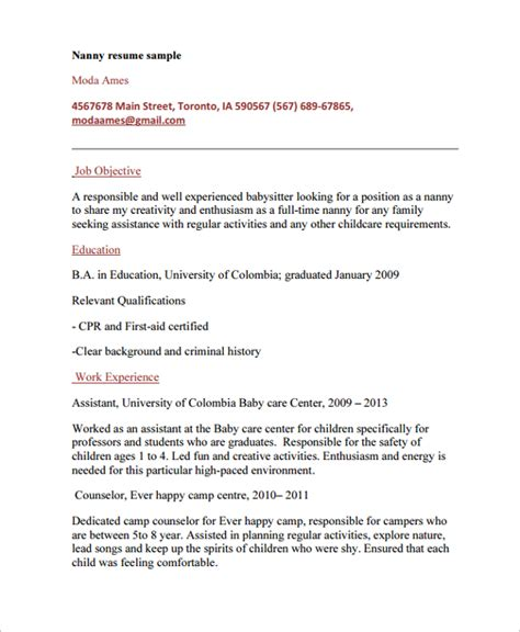 sle nanny resume template 6 free documents