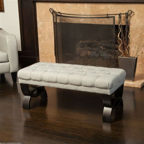 Ottoman Bench by Living Room Furniture Tufted Fabric Ottoman Bench W
