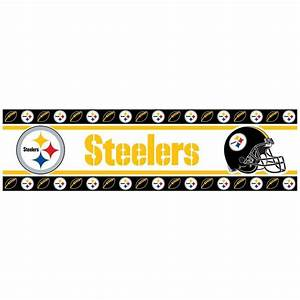 pittsburgh steelers nfl wall paper border steel city fan With kitchen cabinets lowes with pittsburgh steelers wall art