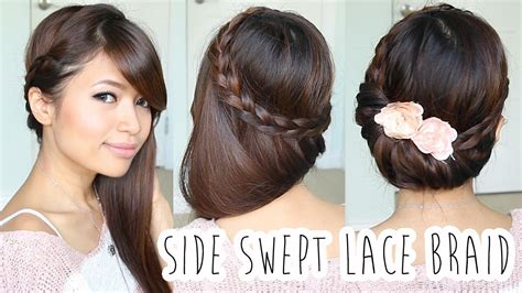 fold  lace braid updo hairstyle hair tutorial youtube