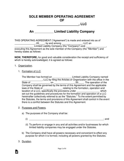 free operating agreement template free single member llc operating agreement templates pdf word eforms free fillable forms
