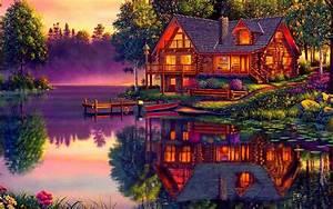 Log Cabin on the Lake HD Wallpaper