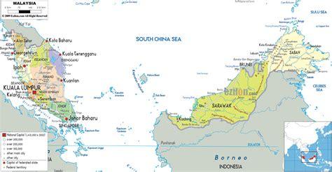 detailed political map  malaysia ezilon maps