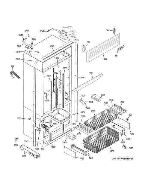 assembly view  freezer section trim components zippnhcss