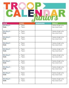 Scout Calendar Template Scout Troop Calendar By Iamgirlscouts Teachers Pay