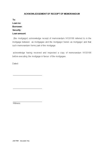 legal forms for lawyers acknowledgement of receipt of memorandum wa legal