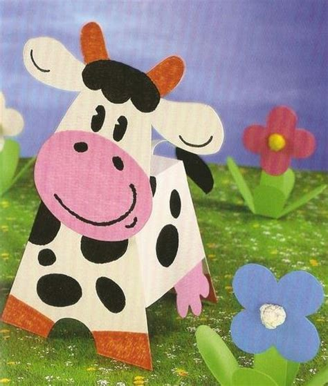 crafts actvities and worksheets for preschool toddler and 881 | 3d cow craft with template 2