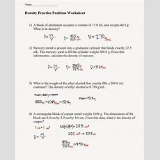 Tom Schoderbek Chemistry Density Problems