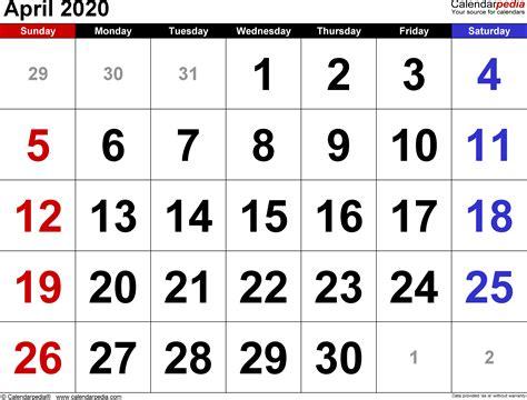 april calendars word excel