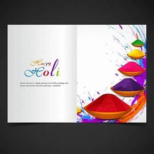 Colorful, Holi, Brochure, Template, Vector
