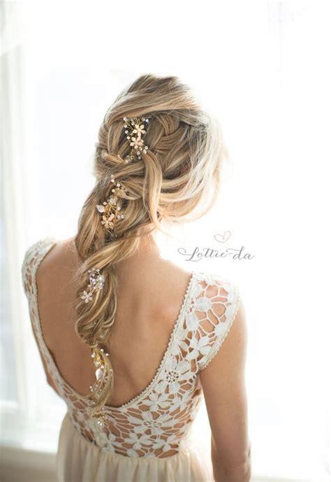 Gold Boho Long Hair Vine Wedding Hairstyle MODwedding