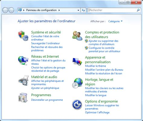 bureau a distance panneau de configuration windows 7 aidewindows