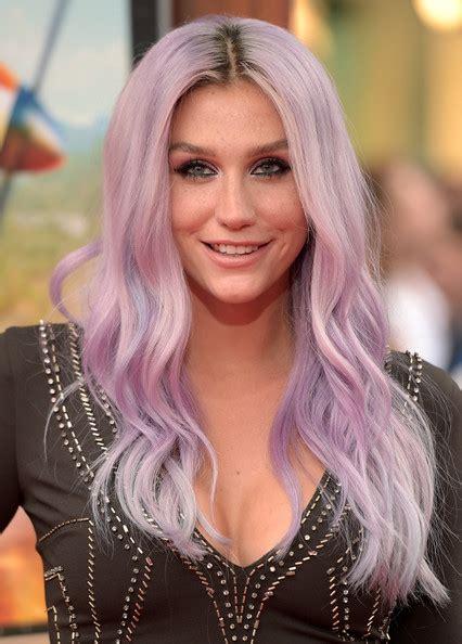 purple pinkkesha  celebrity hair rainbow stylebistro