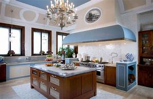 Pretty Vintage French Country Style Kitchens Design Ideas With Large Kitchen Hood And Brown Wood