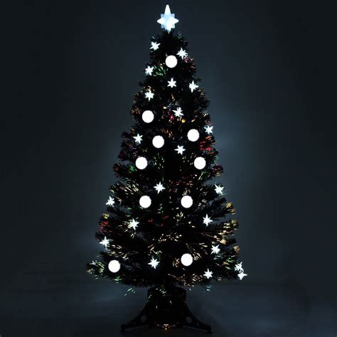 5ft 6ft black pre lit fibre optic christmas tree with led